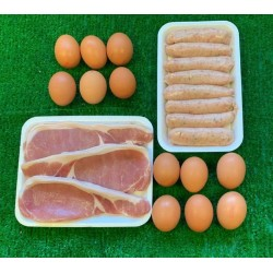 BREAKFAST PACK - 12 Eggs, 500g Bacon, 500g Sausages