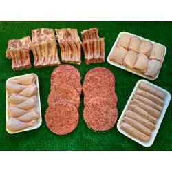 FRESH BEEF BURGERS, CUMBERLAND SAUSAGES, CHICKEN THIGH OYSTER CUT, CHICKEN DRUMSTICKS, 3 BONE BABY BACK RIBS