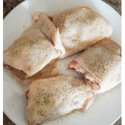 CHICKEN THIGHS boned (skin...
